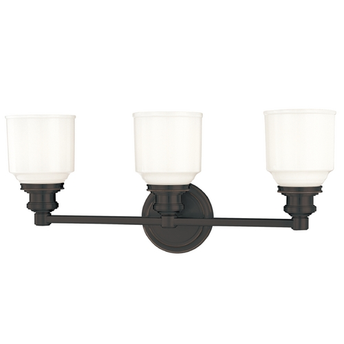 Hudson Valley Lighting Bathroom Light with White Glass in Old Bronze Finish 3403-OB