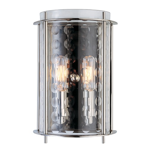 Hudson Valley Lighting Modern Sconce Wall Light with Clear Glass in Polished Nickel Finish 7602-PN
