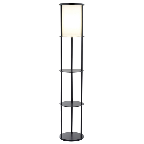 Adesso Home Lighting Modern Floor Lamp with White Shade in Black Finish 3117-01