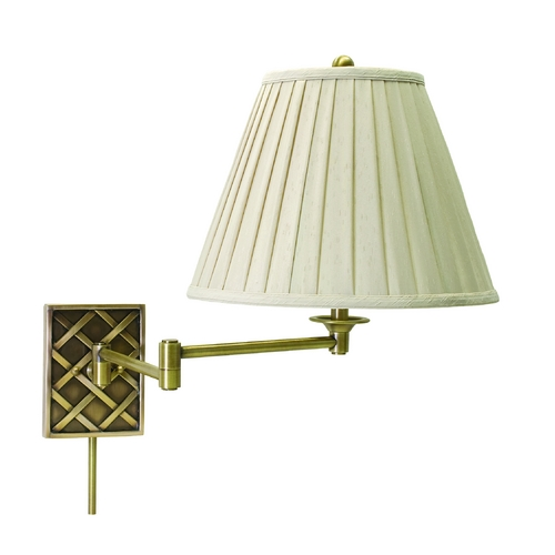 House of Troy Lighting Swing Arm Lamp with White Shade in Antique Brass Finish WS760-AB