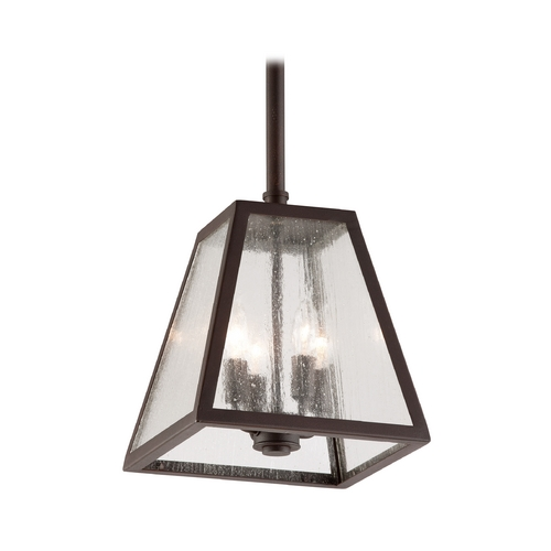 Troy Lighting Outdoor Hanging Light with Clear Glass in River Valley Rust Finish F3437