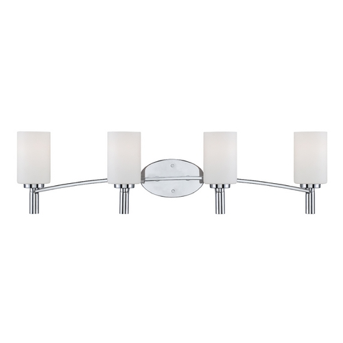 Designers Fountain Lighting Modern Bathroom Light with White Glass in Chrome Finish 84504-CH