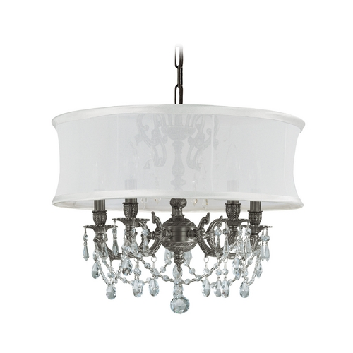 Crystorama Lighting Crystal Mini-Chandelier with White Shade in Pewter Finish 5535-PW-SMW-CLM