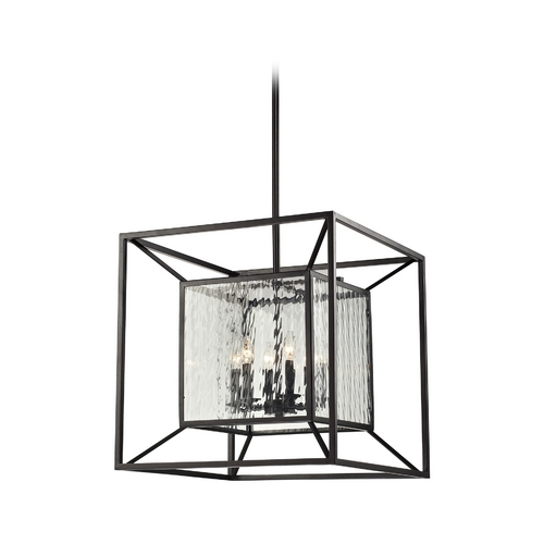 Elk Lighting Pendant Light with Clear Glass in Oiled Bronze Finish 14123/6