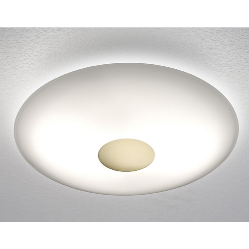 Holtkoetter Lighting Holtkoetter Modern Semi-Flushmount Light with White Glass in Brushed Brass Finish 3502SOL BB