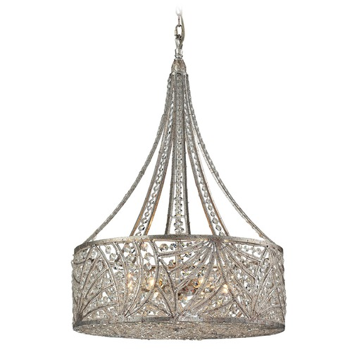 Elk Lighting Elk Lighting Renaissance Sunset Silver Mini-Pendant Light with Drum Shade 16244/6