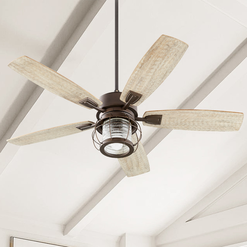 Quorum Lighting Seeded Glass Ceiling Fan with Light Oiled Bronze Quorum Lighting 3525-86