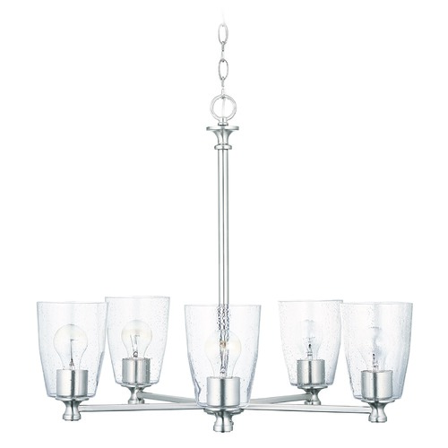 HomePlace by Capital Lighting HomePlace Myles Brushed Nickel 5-Light Chandelier with Clear Seeded Glass 440951BN-506