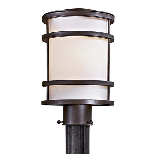 Minka Lavery Modern Post Light with White Glass in Oil Rubbed Bronze Finish 9806-143