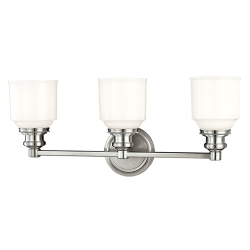 Hudson Valley Lighting Bathroom Light with White Glass in Polished Nickel Finish 3403-PN