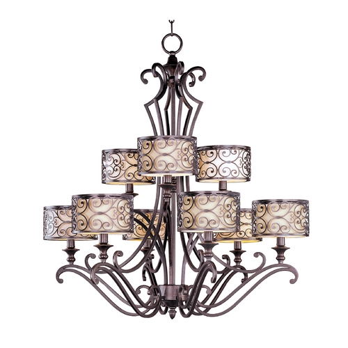 Maxim Lighting Chandelier with Beige / Cream Shades in Umber Bronze Finish 21156WHUB