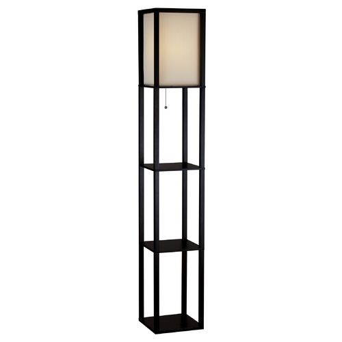 Adesso Home Lighting Modern Floor Lamp with Beige / Cream Shade in Black Finish 3138-01