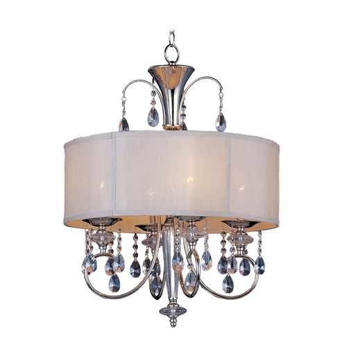 Maxim Lighting Maxim Lighting Montgomery Polished Nickel Pendant Light with Drum Shade 24304CLBSPN