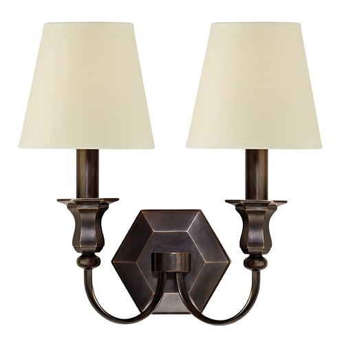 Hudson Valley Lighting Sconce Wall Light with Beige / Cream Paper Shades in Old Bronze Finish 1412-OB