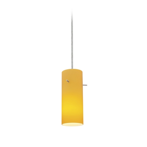 Access Lighting Modern Mini-Pendant Light with Amber Glass 28030-2C-BS/AMB