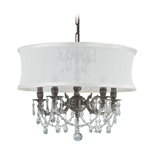 Crystorama Lighting Crystal Mini-Chandelier with White Shade in Pewter Finish 5535-PW-SMW-CLQ
