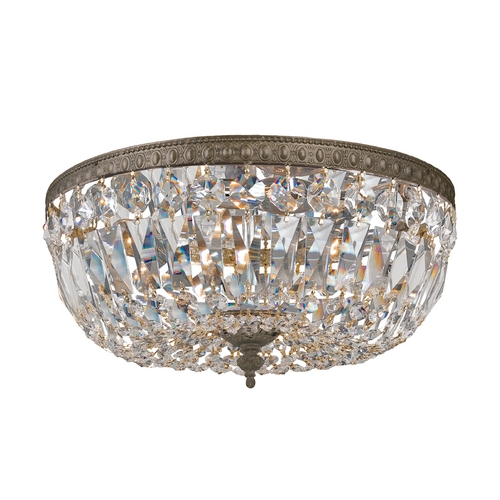Crystorama Lighting Crystal Flushmount Light in English Bronze Finish 712-EB-CL-SAQ