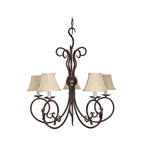 Nuvo Lighting Chandelier with Beige / Cream Shades in Old Bronze Finish 60/040