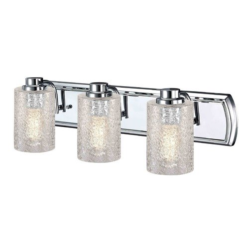 Design Classics Lighting Industrial Textured Glass 3-Light Vanity Light in Chrome 1203-26 GL1060C