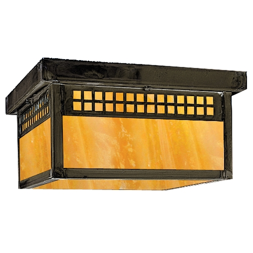 Arroyo Craftsman Lighting Outdoor Flushmount Ceiling Light GCM-8-BZ-GW