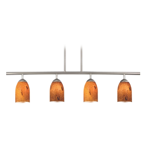 Design Classics Lighting Modern Island Light with Brown Glass in Satin Nickel Finish 718-09 GL1001D