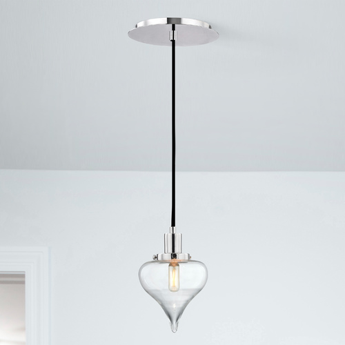 Design Classics Lighting Modern Teardrop Pendant Light with Clear Glass in Chrome Finish 1821-26