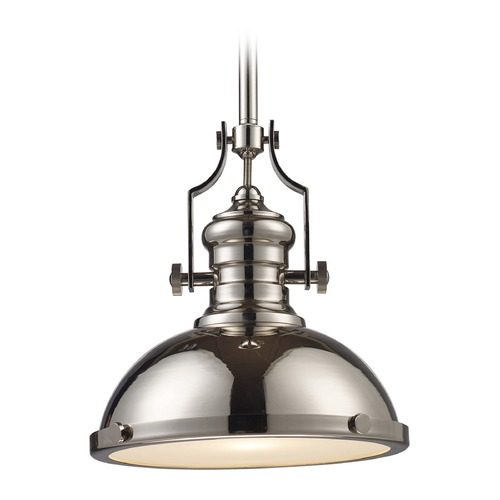 Elk Lighting Elk Lighting Chadwick Polished Nickel LED Pendant Light with Bowl / Dome Shade 66114-1-LED