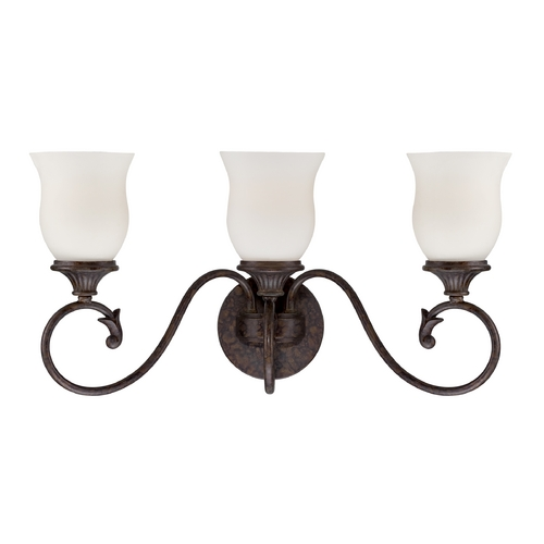 Designers Fountain Lighting Bathroom Light with White Glass in Burnt Umber Finish 84803-BU