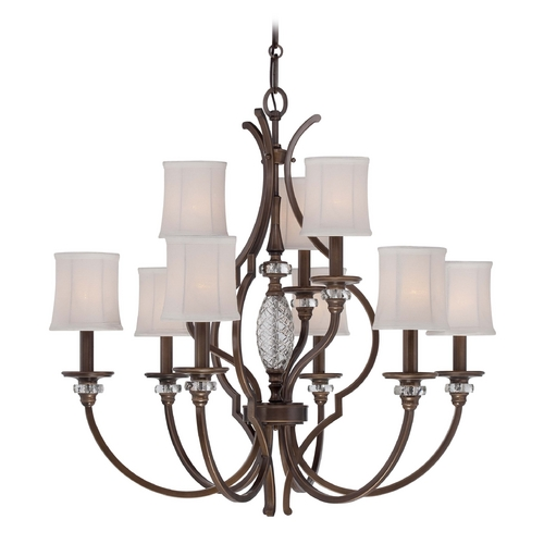 Minka Lavery Chandelier with White Shades in Dark Noble Bronze Finish 4949-570