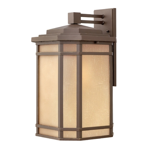 Hinkley Lighting LED Outdoor Wall Light with Amber Glass in Oil Rubbed Bronze Finish 1275OZ-LED