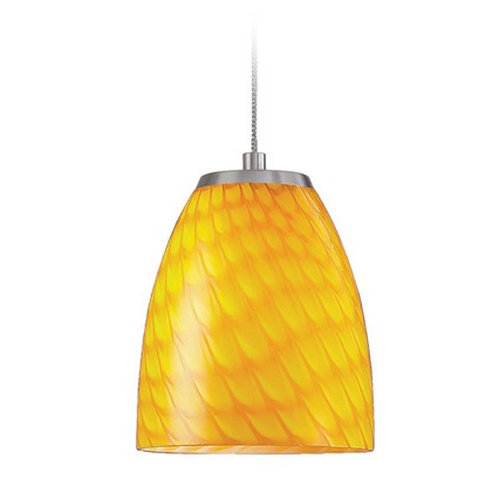 Elk Lighting Low Voltage LED Mini-Pendant Light with Yellow Glass PF1000/1-LED-BN-CN