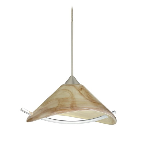 Besa Lighting Besa Lighting Hoppi Satin Nickel Mini-Pendant Light with Conical Shade 1XT-181305-SN