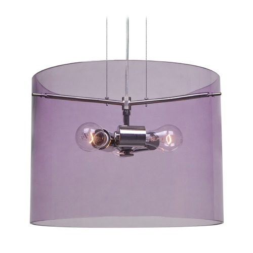 Besa Lighting Besa Lighting Pahu Satin Nickel Pendant Light with Drum Shade 1KG-A00707-SN-NI