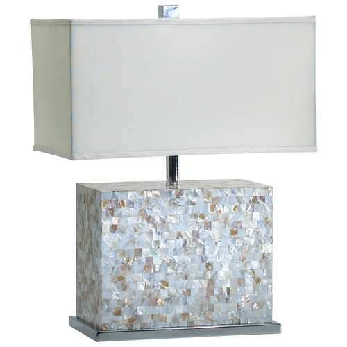 Cyan Design Cyan Design Shell Tile White & Polished Chrome Table Lamp with Rectangle Shade 2597