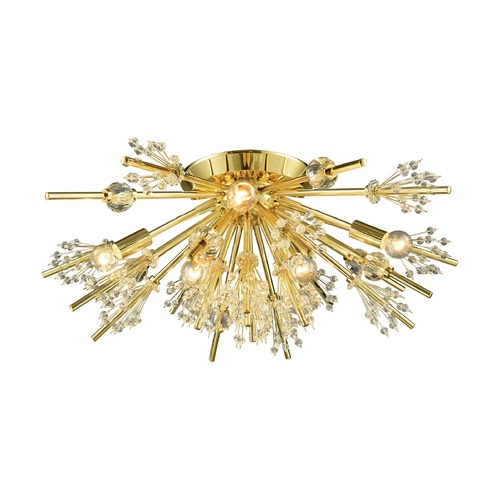 Elk Lighting Elk Lighting Starburst Polished Gold Semi-Flushmount Light 11758/8