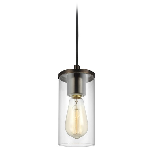 Sea Gull Lighting Sea Gull Lighting Zire Brushed Oil Rubbed Bronze Mini-Pendant Light with Cylindrical Shade 6190301-778