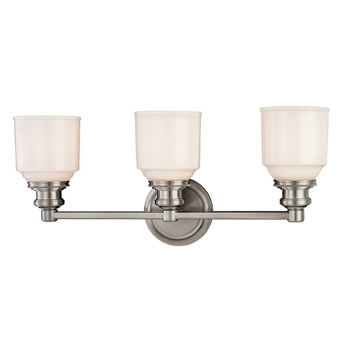Hudson Valley Lighting Bathroom Light with White Glass in Satin Nickel Finish 3403-SN