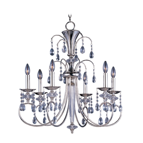 Maxim Lighting Crystal Chandelier in Polished Nickel Finish 24306CLPN