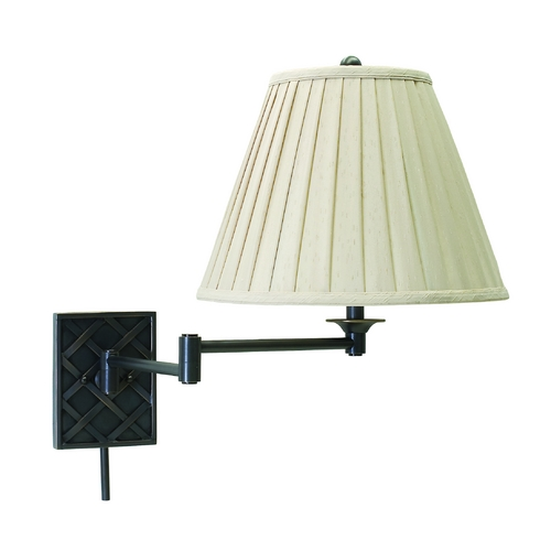 House of Troy Lighting Swing Arm Lamp with White Shade in Oil Rubbed Bronze Finish WS760-OB