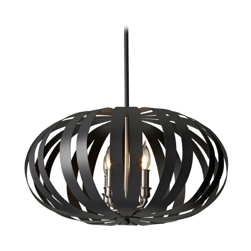 Feiss Lighting Pendant Light in Textured Black Finish F2738/4TXB