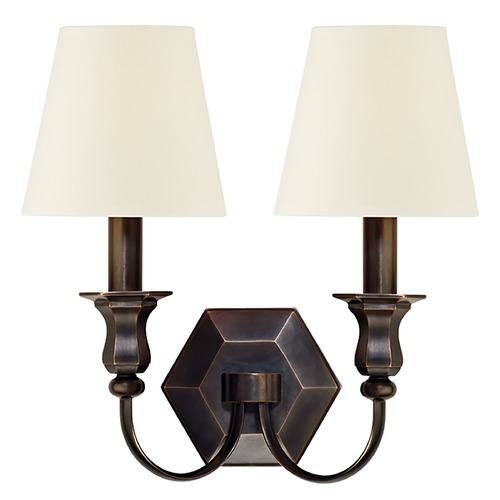 Hudson Valley Lighting Sconce Wall Light with White Shades in Old Bronze Finish 1412-OB-WS