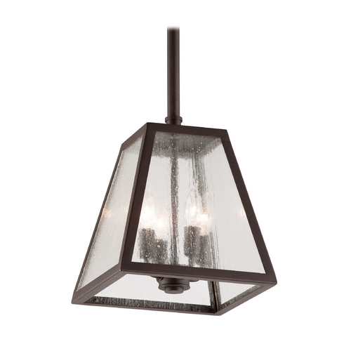 Troy Lighting Outdoor Hanging Light with Clear Glass in River Valley Rust Finish FCD3437