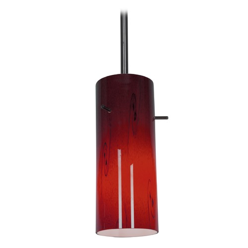 Access Lighting Modern Mini-Pendant Light with Red Glass 28030-1R-ORB/RUSKY