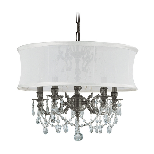 Crystorama Lighting Crystal Mini-Chandelier with White Shade in Pewter Finish 5535-PW-SMW-CLS