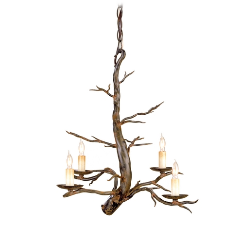 Currey and Company Lighting Branch Mini-Chandelier in Old Iron Finish 9307