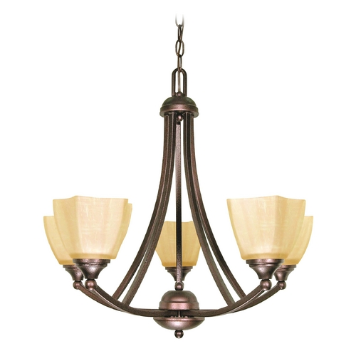 Nuvo Lighting Chandelier with Beige / Cream Glass in Copper Bronze Finish 60/055