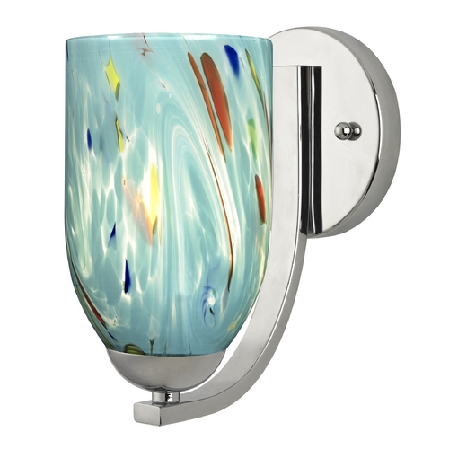 Design Classics Lighting Sconce with Turquoise Art Glass in Chrome Finish 585-26 GL1021D