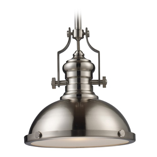 Elk Lighting Elk Lighting Chadwick Satin Nickel LED Pendant Light with Bowl / Dome Shade 66124-1-LED