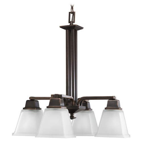 Progress Lighting Progress Chandelier with White Glass in Venetian Bronze Finish P4002-74