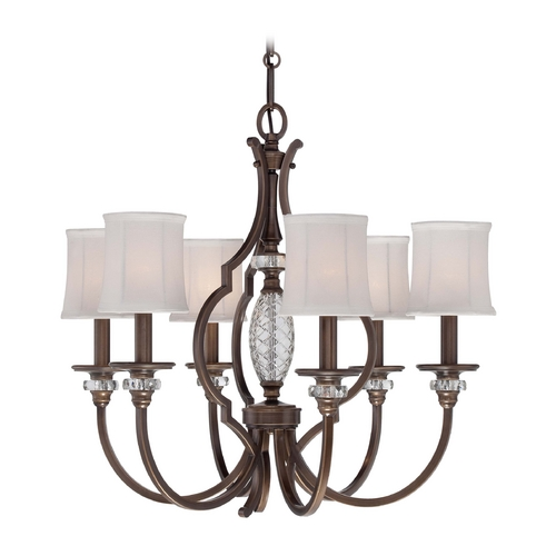Minka Lavery Chandelier with White Shades in Dark Noble Bronze Finish 4946-570